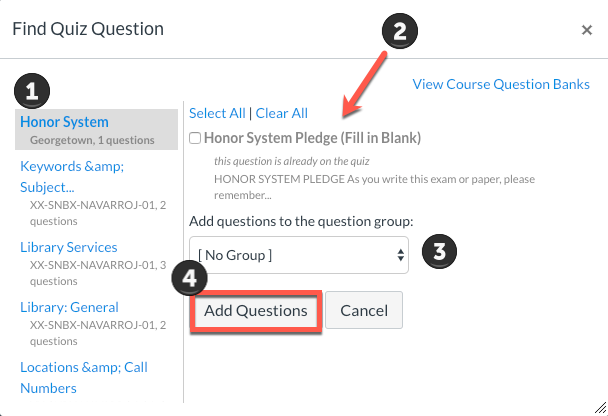 find honor council question in canvas