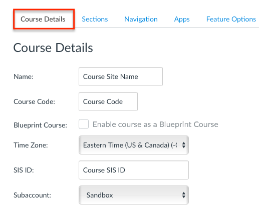 course details tab