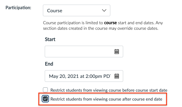 Click button to Restrict Students from viewing course after end date